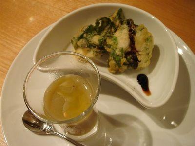 02・焼き茄子のスープ、白海老と明日葉のフリット バルサミコソースと共に.jpg