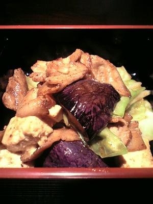 豚肉と茄子と豆腐の味噌炒め